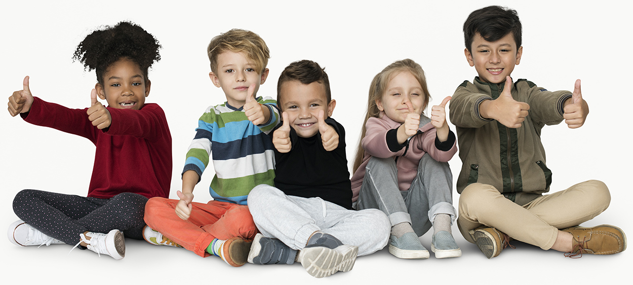 Group of Kids Thumbs Up